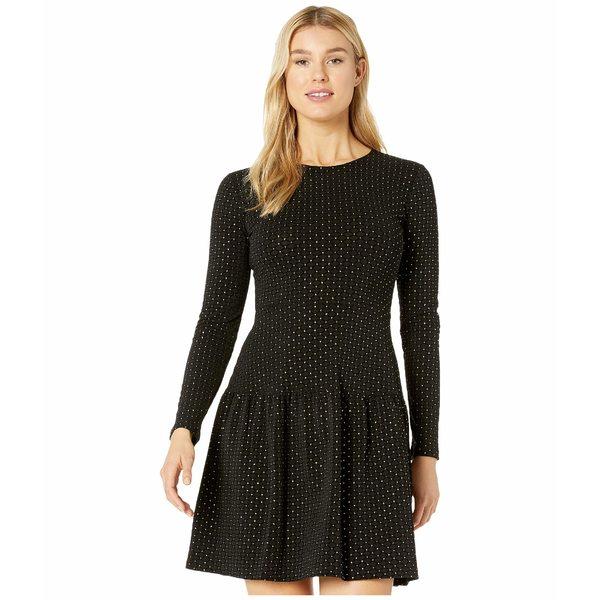マイケルコース レディース ワンピース トップス Foil Long Sleeve Shirred Skirt Dress Black/Gold