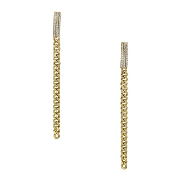 シージーバイケネスジェイレーン レディース 完全送料無料 全商品オープニング価格 アクセサリー ピアス イヤリング CLEAR-GOLD 全商品無料サイズ交換 Curb Chain Earrings Drop CZ Pave