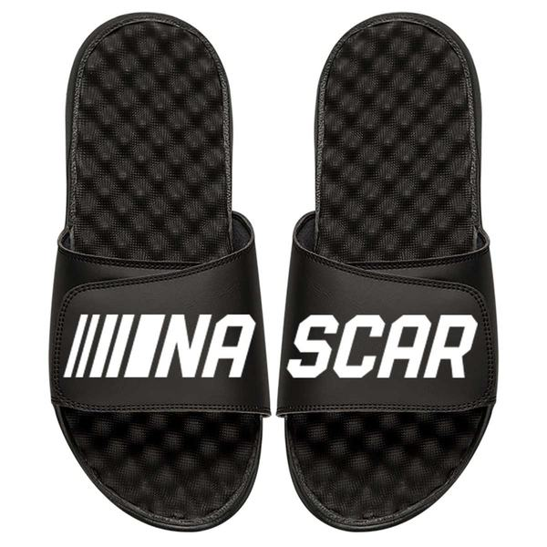 アイスライド メンズ サンダル シューズ ISlide NASCAR Split White Logo Slide Sandals Black