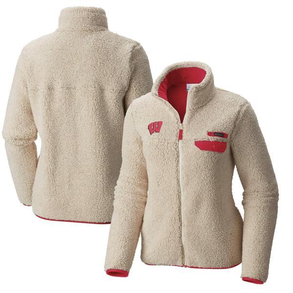 コロンビア レディース ジャケット&ブルゾン アウター Wisconsin Badgers Columbia Women's Mountain Side Sherpa Fleece FullZip Jacket Cream