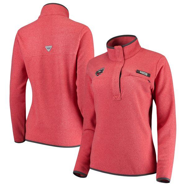 コロンビア レディース ジャケット&ブルゾン アウター D.C. United Columbia Women's Harborside Fleece Pullover Jacket Heathered Red