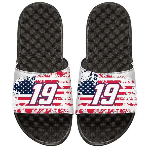 アイスライド メンズ サンダル シューズ Martin Truex Jr ISlide American Flag Slide Sandals White