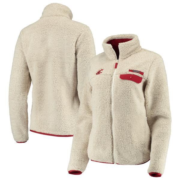 コロンビア レディース ジャケット&ブルゾン アウター Washington State Cougars Columbia Women's Mountain Side Sherpa Fleece FullZip Jacket Cream