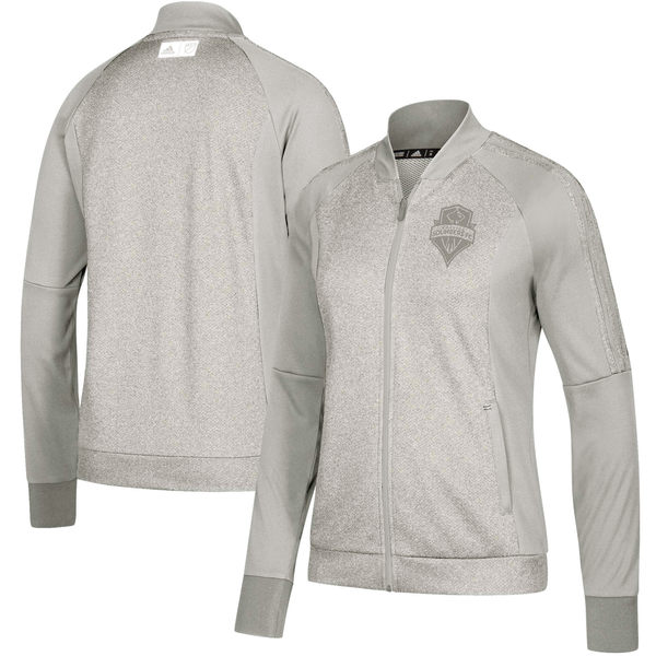 アディダス レディース ジャケット&ブルゾン アウター Seattle Sounders FC adidas Women's Anthem FullZip Jacket Gray/Heathered Gray