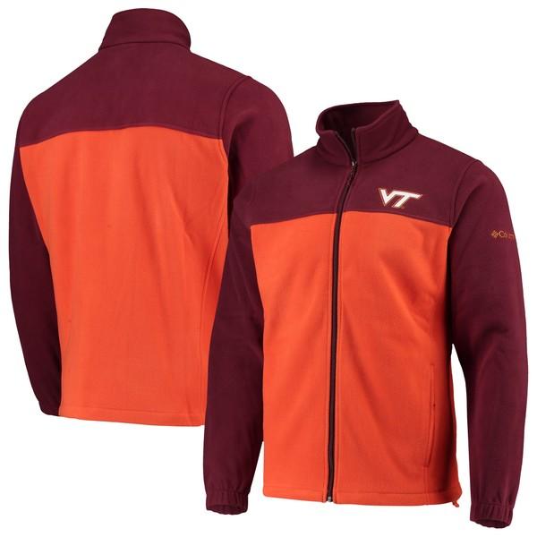 コロンビア メンズ ジャケット&ブルゾン アウター Virginia Tech Hokies Columbia Flanker III Fleece Team FullZip Jacket Maroon/Orange