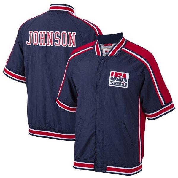 ミッチェル&ネス メンズ ジャケット&ブルゾン アウター Magic Johnson USA Basketball Mitchell & Ness 1992 Dream Team Authentic WarmUp Jacket Navy
