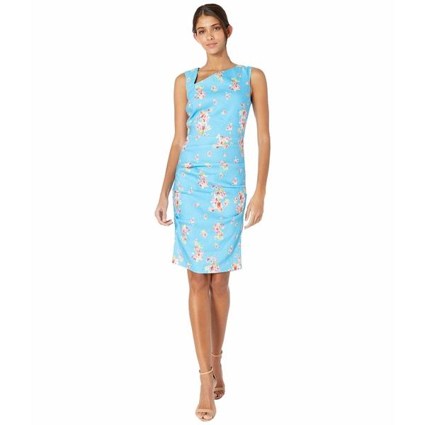 ニコルミラー レディース ワンピース トップス Pink Dawn Stretch Linen Asymmetrical Dress Bahama Blue