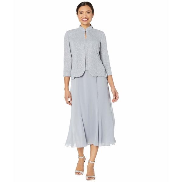 アレックスイブニングス レディース ワンピース トップス Tea Length Mock Jacket Dress with Glitter Knit Jacket Silver