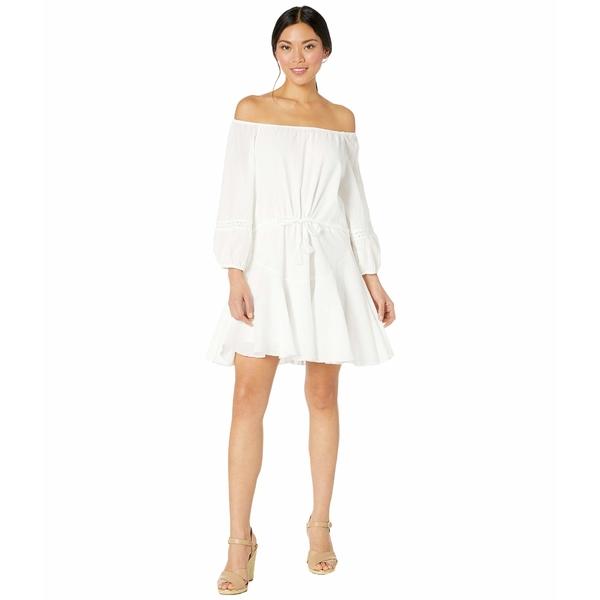 アメリカンローズ レディース ワンピース トップス Jada Off-the-Shoulder Ruffled Dress White