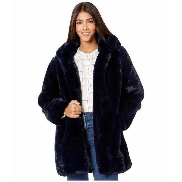 アッパリス レディース コート アウター Marie Hooded Faux Fur Coat Navy Blue