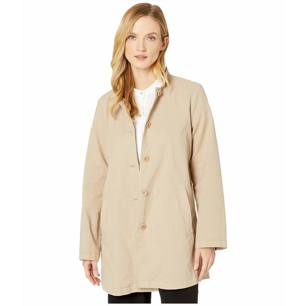 エイリーンフィッシャー レディース コート アウター Organic Cotton Hemp Stretch Stand Collar Jacket Khaki