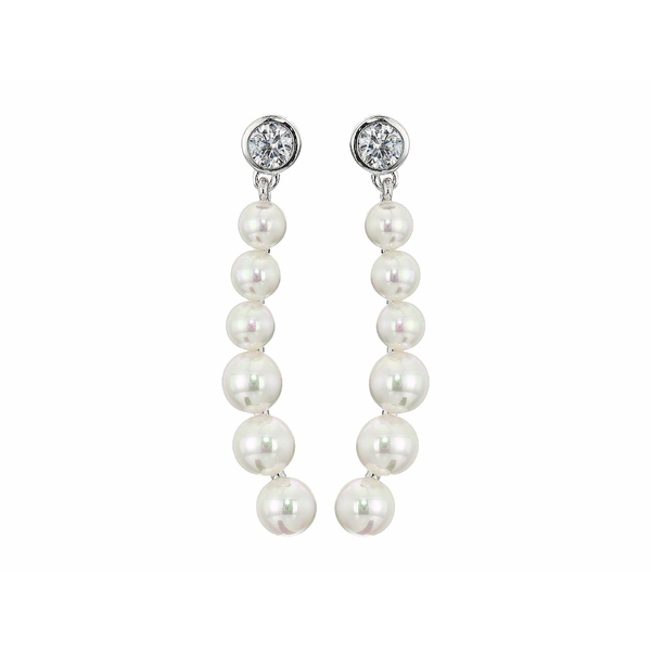 マジョリカ レディース ピアス&イヤリング アクセサリー Arabesque - 4-5 mm White Round Pearls Drop Earrings with CZ In Sterling Silver White