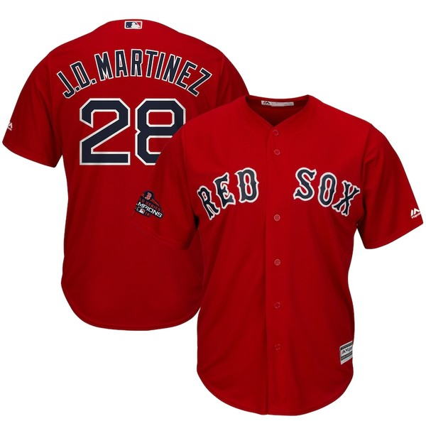マジェスティック メンズ シャツ トップス J.D. Martinez Boston Red Sox Majestic 2018 World Series Champions Team Logo Player Jersey Scarlet