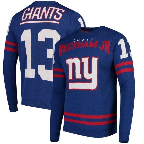 フォコ メンズ シャツ トップス Odell Beckham Jr New York Giants Player Name & Number Sweater Royal
