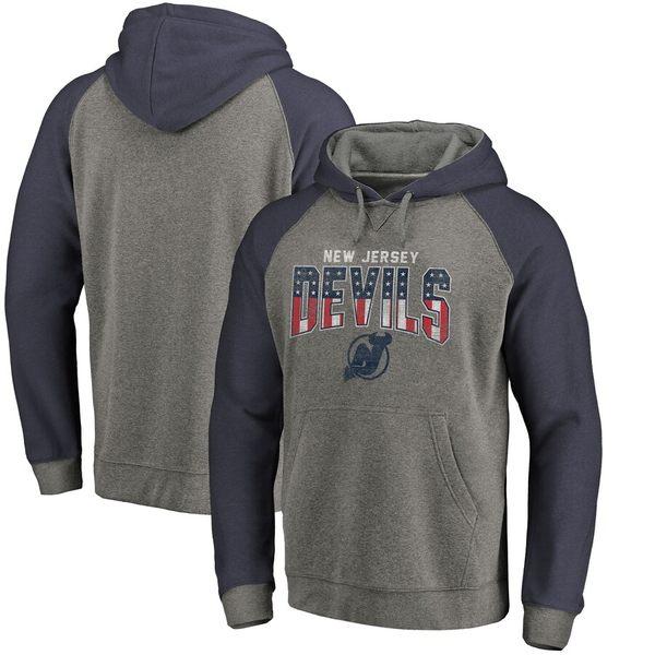 ファナティクス メンズ パーカー・スウェットシャツ アウター New Jersey Devils Fanatics Branded Freedom Tri-Blend Raglan Pullover Hoodie Heathered Gray/Heathered Navy