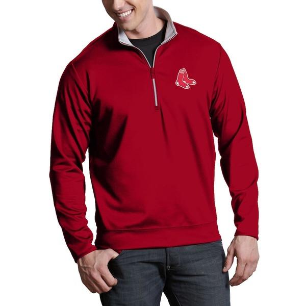 アンティグア メンズ ジャケット&ブルゾン アウター Boston Red Sox Antigua Leader Quarter-Zip Pullover Jacket Red