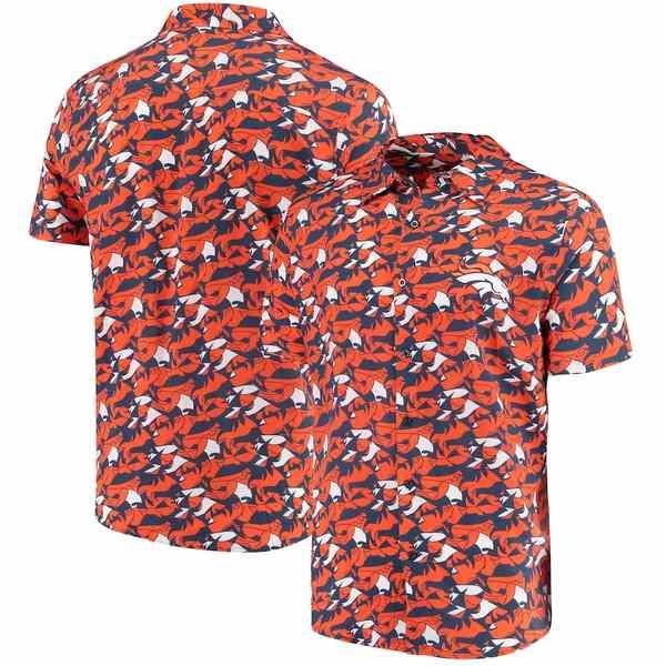フォコ メンズ シャツ トップス Denver Broncos NFLxFIT Quicksnap Woven Shirt Navy/Orange