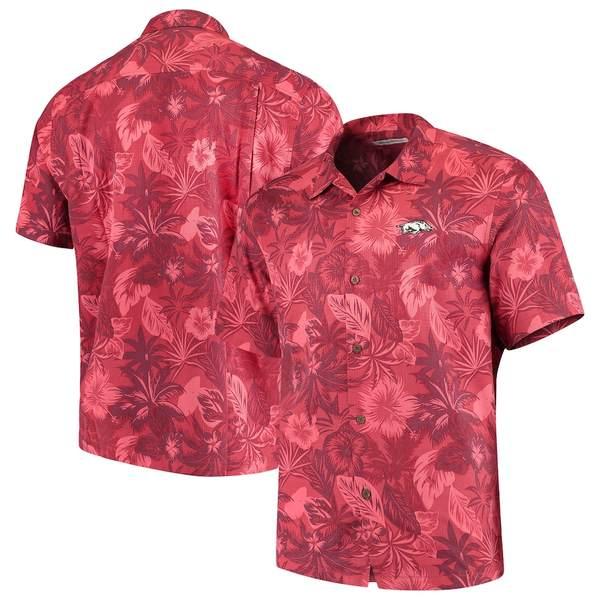 トッミーバハマ メンズ シャツ トップス Arkansas Razorbacks Tommy Bahama Fuego Floral Silk Camp Shirt Cardinal