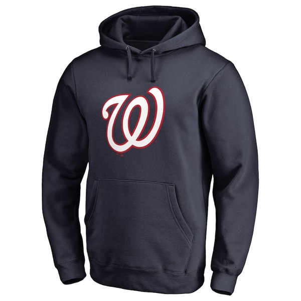 ファナティクス メンズ パーカー・スウェットシャツ アウター Washington Nationals Secondary Color Primary Logo Pullover Hoodie Navy