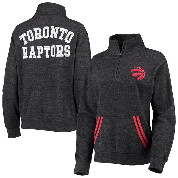 ニューエラ レディース ジャケット&ブルゾン アウター Toronto Raptors New Era Women's Striped Trim Tri-Blend Half-Zip Pullover Jacket Black