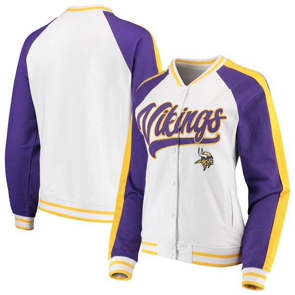 ニューエラ レディース ジャケット&ブルゾン アウター Minnesota Vikings New Era Women's Varsity Full Snap Jacket White/Purple