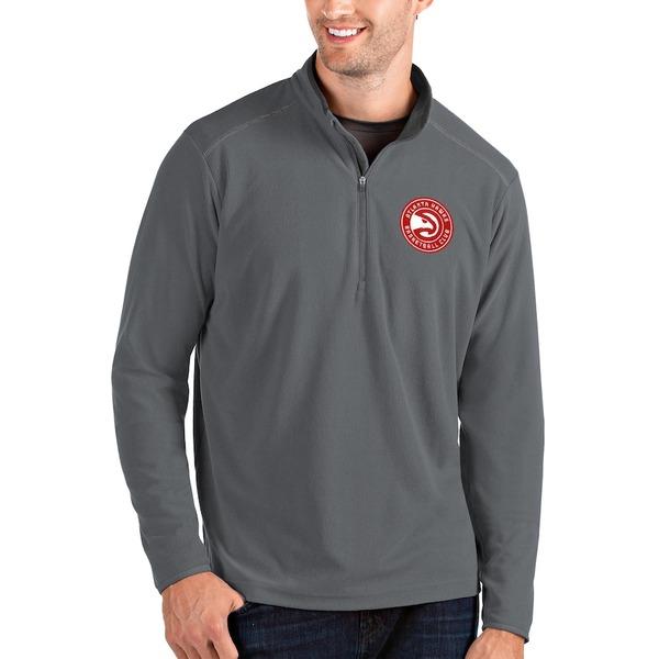 アンティグア メンズ ジャケット&ブルゾン アウター Atlanta Hawks Antigua Glacier Quarter-Zip Pullover Jacket Charcoal/Gray