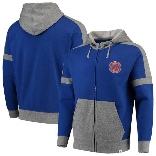 ファナティクス メンズ パーカー・スウェットシャツ アウター New York Knicks Fanatics Branded Iconic Fleece Full-Zip Hoodie Royal/Heathered Gray