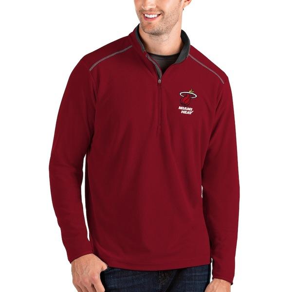 アンティグア メンズ ジャケット&ブルゾン アウター Miami Heat Antigua Big & Tall Glacier Quarter-Zip Pullover Jacket Red/Gray