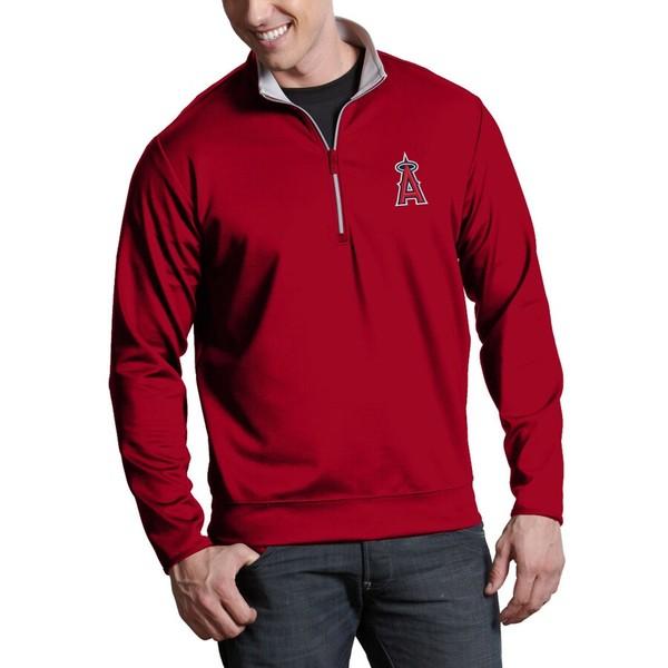 アンティグア メンズ ジャケット&ブルゾン アウター Los Angeles Angels Antigua Leader Quarter-Zip Pullover Jacket Red