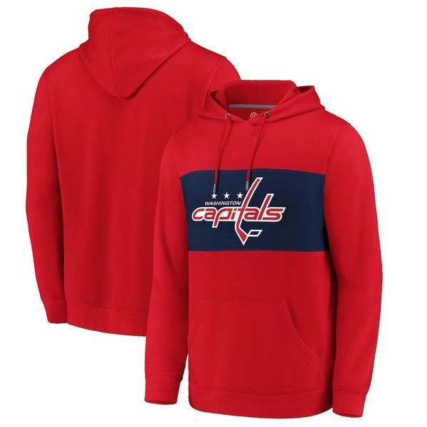 ファナティクス メンズ パーカー・スウェットシャツ アウター Washington Capitals Fanatics Branded True Classics Faux Cashmere Pullover Hoodie Red/Navy