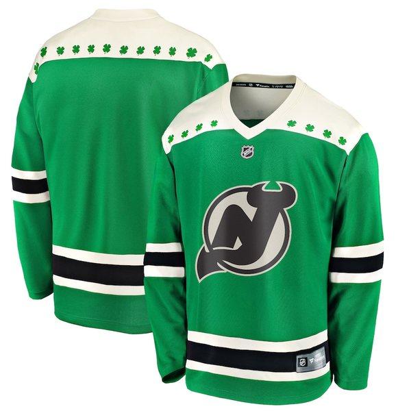 ファナティクス メンズ シャツ トップス New Jersey Devils Fanatics Branded 2020 St. Patrick's Day Replica Jersey Green
