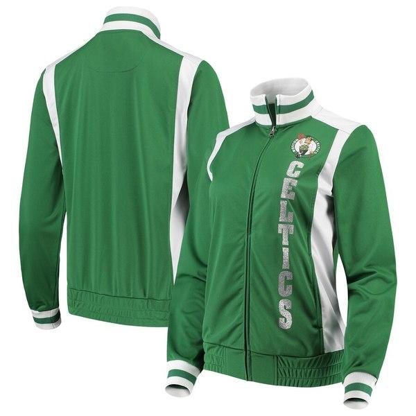 カールバンクス レディース ジャケット&ブルゾン アウター Boston Celtics G-III 4Her by Carl Banks Women's On-Deck Platinum Glitter Track Jacket Kelly Green/White
