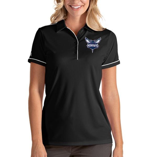アンティグア レディース ポロシャツ トップス Charlotte Hornets Antigua Women's Salute Polo Black/White