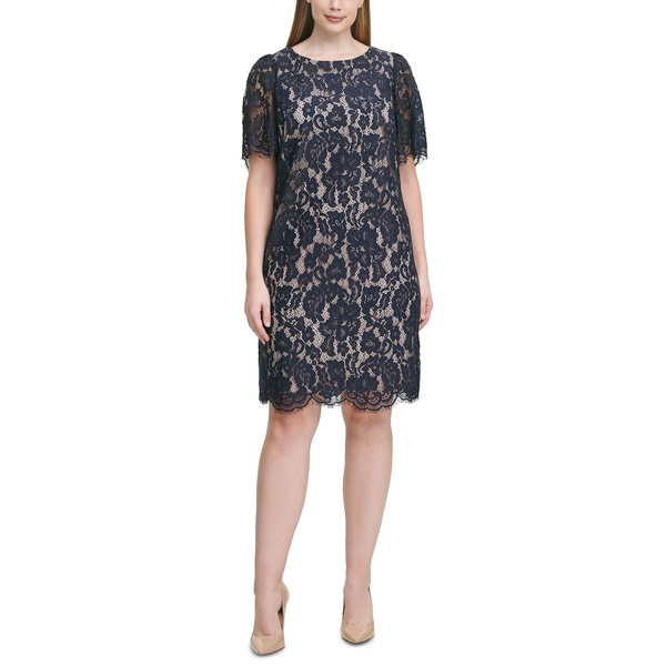 ジェシカハワード 卸売り レディース トップス ワンピース SALE開催中 Navy Tan Plus Size 全商品無料サイズ交換 Sheath Lace Dress