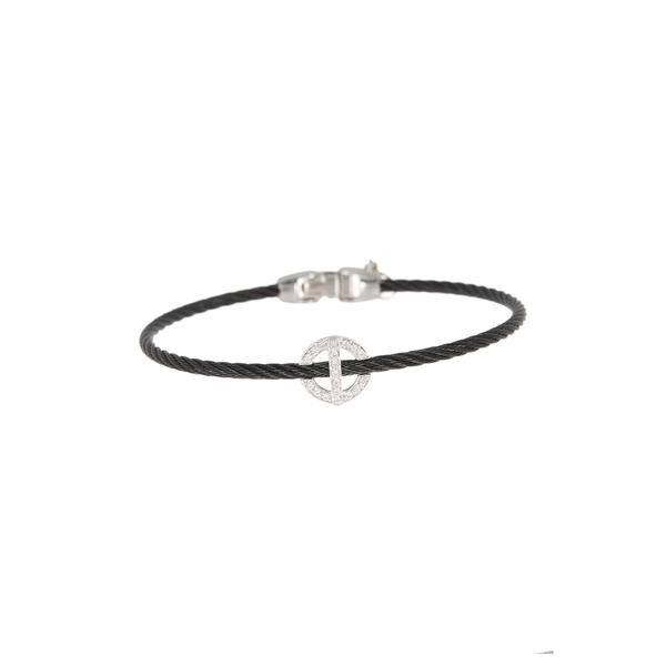 アロール レディース アクセサリー ブレスレット バングル アンクレット 18KT WG 期間限定特価品 全商品無料サイズ交換 18K Cascade Gold Steel Black White Cable Chain Diamond Stainless Bracelet 売却