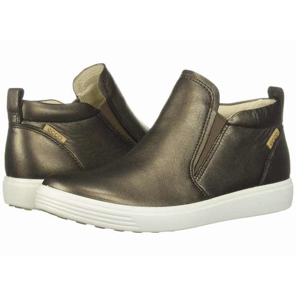 エコー レディース スニーカー シューズ Soft 7 Slip-On Boot Black Stone Metallic Cow Leather