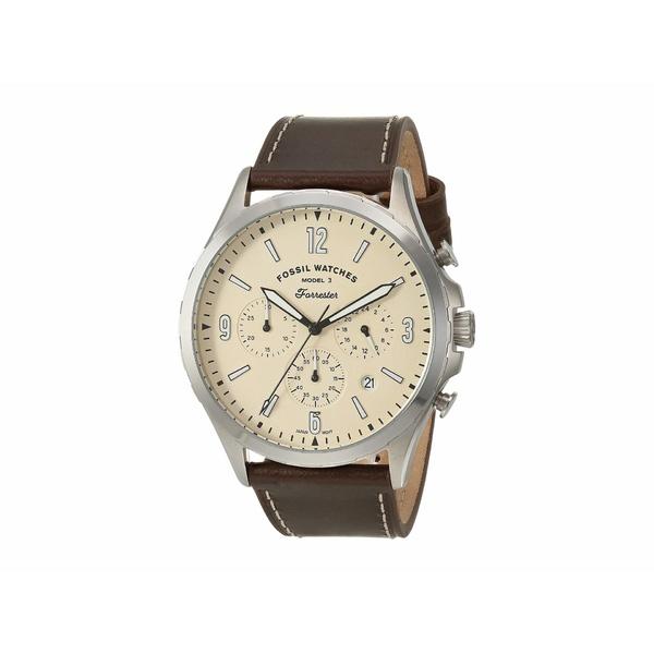 フォッシル メンズ 腕時計 アクセサリー Forrester Chronograph Watch FS5696 Silver Brown Leather