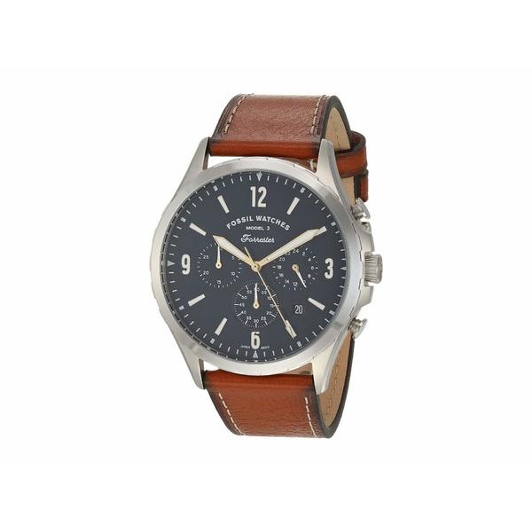 フォッシル メンズ 腕時計 アクセサリー Forrester Chronograph Watch FS5607 Silver Brown Leather