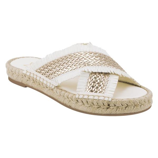 マーク・フィッシャー レディース サンダル シューズ Marc Fisher LTD Tessi Slide Sandal (Women) Gold/ White Fabric