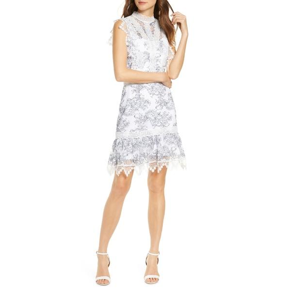 アドレイン ラエ レディース トップス ワンピース White-Navy 全商品無料サイズ交換 アドレイン ラエ レディース ワンピース トップス Adelyn Rae Hattie Outlined Lace Dress White-Navy