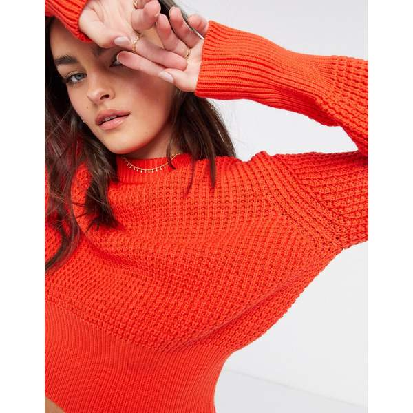 red French Connection Poppy Mozart in レディース Knit Luna フレンチコネクション Sweater アウター Waffle ニット&セーター Round Neck Red