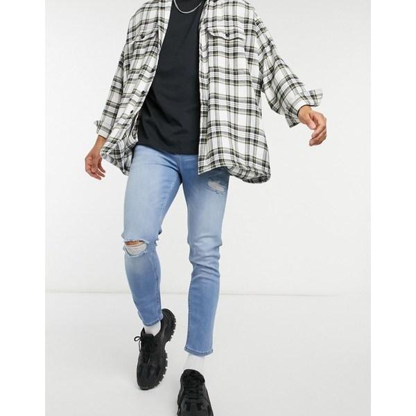 デニムパンツ Mid wash rips DESIGN jeans ASOS blue blue mid wash in with エイソス skinny ボトムス メンズ
