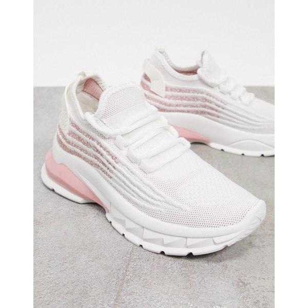 エイソス レディース シューズ スニーカー White pink 全商品無料サイズ交換 ASOS DESIGN white chunky in 高品質新品 日本最大級の品揃え lace-up sneakers Driven