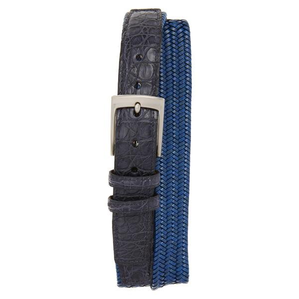トリノ メンズ ベルト アクセサリー Torino Stretch Woven Leather Belt Blue