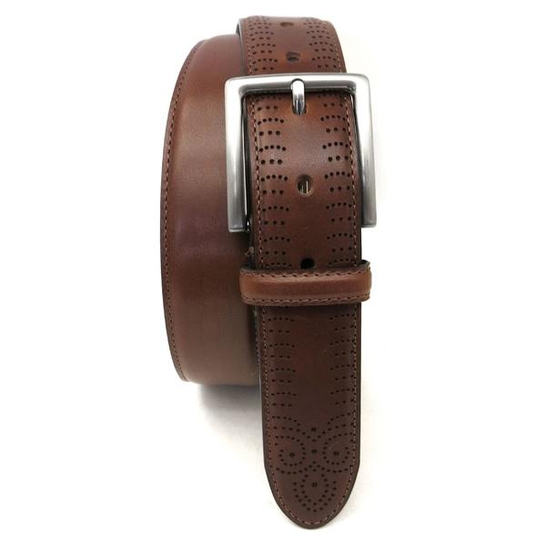 ボコニ メンズ ベルト アクセサリー Boconi Perforated Tab Leather Belt Cognac