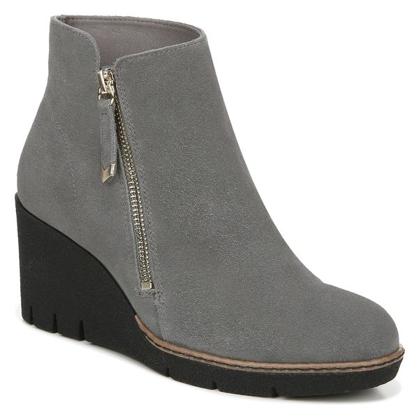 ドクター・ショール レディース ブーツ&レインブーツ シューズ Dr. Scholl's Live it Up Wedge Bootie (Women) Dark Grey Leather