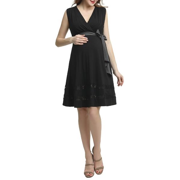 キミアンドカイ レディース ワンピース トップス Kimi and Kai Marji Lace Accent Babydoll Maternity/Nursing Dress Black