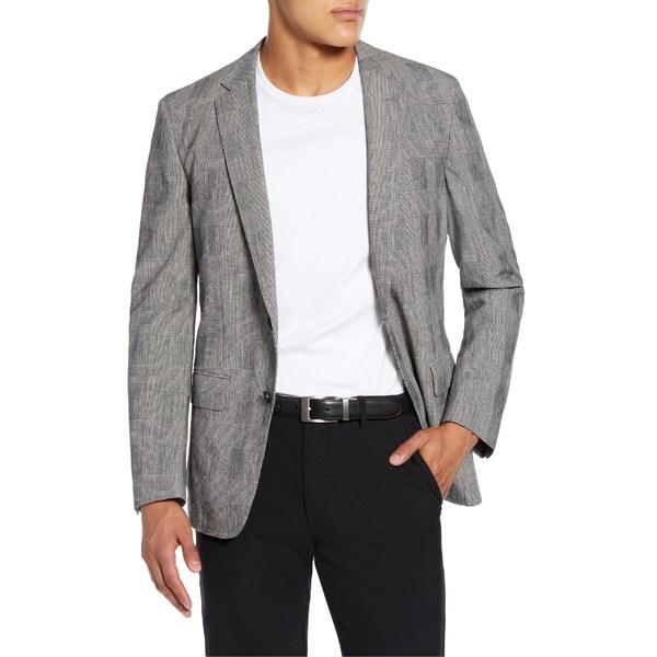 ボス メンズ ジャケット&ブルゾン アウター BOSS Halwon Trim Fit Plaid Stretch Cotton Blend Sport Coat Black