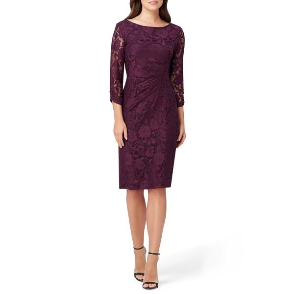 タハリ レディース ワンピース トップス Tahari Lace Sheath Dress Plum Floral Lace