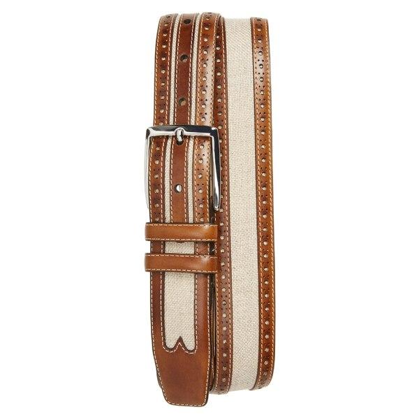 メズラン メンズ ベルト アクセサリー Mezlan Palma Linen & Leather Belt Honey/ Bone